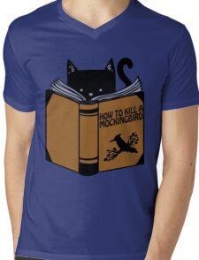 CAT AND BOOK Mens V-Neck T-Shirt