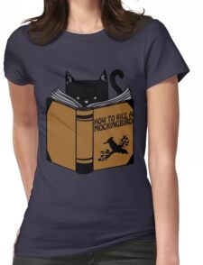 CAT AND BOOK Womens Fitted T-Shirt