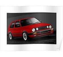 Poster artwork - Golf GTI mk2 in Red Poster