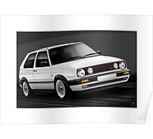 Poster artwork - Golf GTI mk2 in White Poster