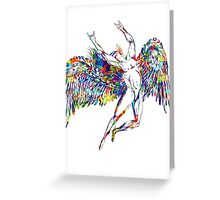 ICARUS THROWS THE HORNS - paint splotches NEW DESIGN Greeting Card