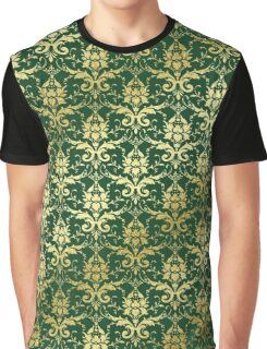 Damask Glitter Gold Dark Green Classic Elegant Graphic T-Shirt