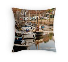 English Coastal Village Harbour - British Coast And Beach  Throw Pillow