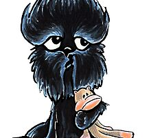Affenpinscher Monkey Love by offleashart