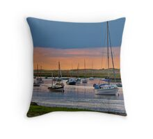 Orange and Blue Evening Mooring - British Coast And Beach  Throw Pillow
