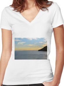 Sunset over the sea in Vernazza Women's Fitted V-Neck T-Shirt