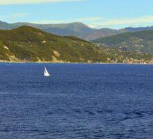 The blue sea and hills from Portofino. Sticker