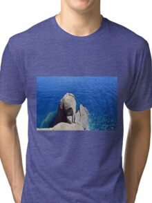The blue sea and rocky formations Tri-blend T-Shirt