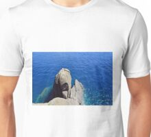 The blue sea and rocky formations Unisex T-Shirt