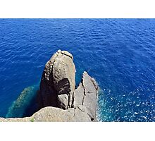 The blue sea and rocky formations Photographic Print