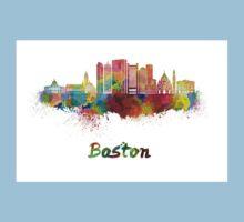 Boston skyline in watercolor Kids Tee
