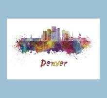 Denver skyline in watercolor Baby Tee