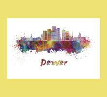 Denver skyline in watercolor Kids Tee