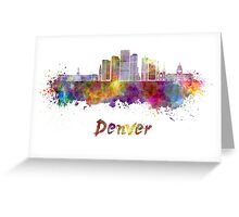 Denver skyline in watercolor Greeting Card