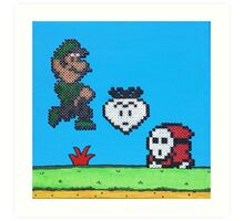 Luigi v Shy Guy (Paint 'N' Beads) Art Print