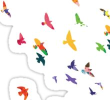 Colorful flying birds group Sticker