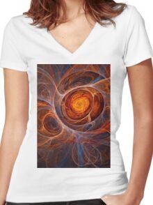 Fiery eye Women's Fitted V-Neck T-Shirt