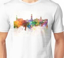 Bruges skyline in watercolor background Unisex T-Shirt
