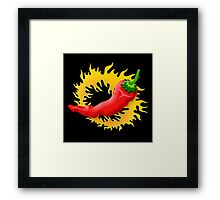 Pepper with flame Framed Print