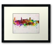 Raleigh skyline in watercolor background Framed Print