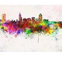 Raleigh skyline in watercolor background Photographic Print