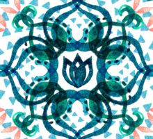 Watercolor Lotus Mandala in Teal & Salmon Pink Sticker