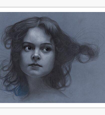 Vintage girl art - surreal drawing on blue paper Sticker