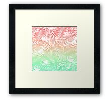 Modern coral turquoise tropical palm trees pattern Framed Print