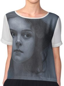 Vintage girl art - surreal drawing on blue paper Chiffon Top