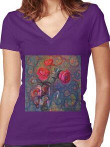 Roses #DeepDreamed Women's Fitted V-Neck T-Shirt
