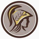 Minerva Head Helmet Circle Retro by patrimonio