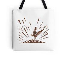 Plover Landing Island Woodcut Tote Bag