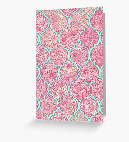 Moroccan Floral Lattice Arrangement - pink Greeting Card