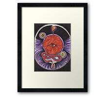 KNITCROMANCY: Unraveling the Cosmic Yarn Framed Print
