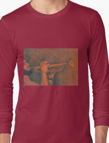 Jazz session. Drawing of man playing the trumpet. Long Sleeve T-Shirt
