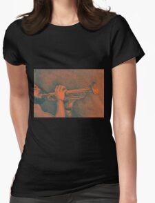 Jazz session. Drawing of man playing the trumpet. Womens Fitted T-Shirt