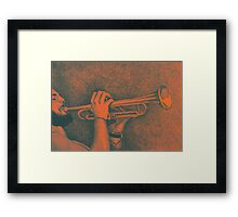 Jazz session. Drawing of man playing the trumpet. Framed Print