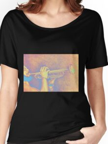Jazz session. Drawing of man playing the trumpet. Women's Relaxed Fit T-Shirt