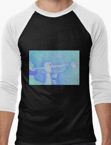 Jazz session. Drawing of man playing the trumpet. Men's Baseball ¾ T-Shirt