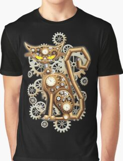 Steampunk Cat Vintage Copper Toy Graphic T-Shirt
