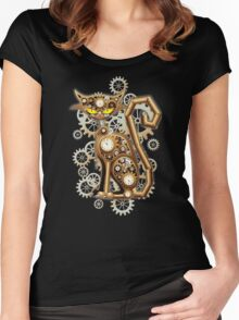 Steampunk Cat Vintage Copper Toy Women's Fitted Scoop T-Shirt
