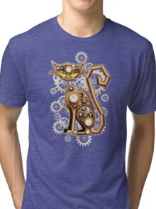 Steampunk Cat Vintage Copper Toy Tri-blend T-Shirt