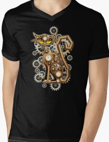 Steampunk Cat Vintage Copper Toy Mens V-Neck T-Shirt