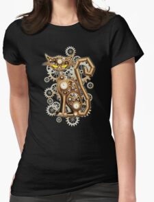 Steampunk Cat Vintage Copper Toy Womens Fitted T-Shirt