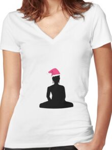 Buddha Christmas Santa Claus Women's Fitted V-Neck T-Shirt