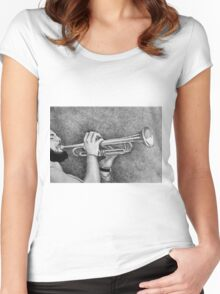 Jazz session. Drawing of man playing the trumpet. Women's Fitted Scoop T-Shirt