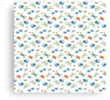 Watercolor summer pattern with floral theme Canvas Print