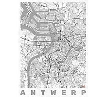 Antwerp Map Line Photographic Print