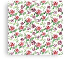 Watercolor summer vintage pattern with floral theme Canvas Print