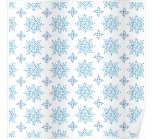 Watercolor snowflakes seamless pattern Poster
